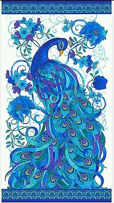 Mosaic Plume * Tiffany Peacock Quilt Panel * In Stock * Free Post *