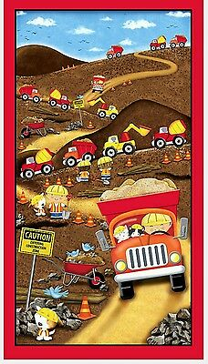 Dig It - Road Building Trucks Quilt Panel * In Stock * Free Post *