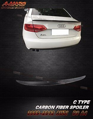 2009-2012 Audi A4 B8 Sedan 4dr Carbon Fiber Rear Trunk Spoiler Lip Type C