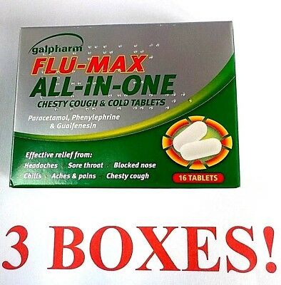 3 X GALPHARM FLU MAX ALL IN ONE chesty cough and cold 48 tablets blocked nose