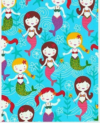 Under The Sea Fabric * Mermaid Greetings * New * In Stock * Free Post *