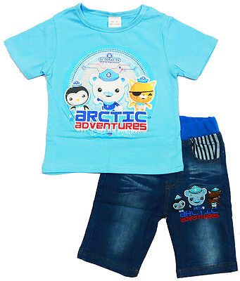 New 1~6 Kids Boys Summer Outfits Octonauts Kids Tshirt Top Tees Denim Shorts