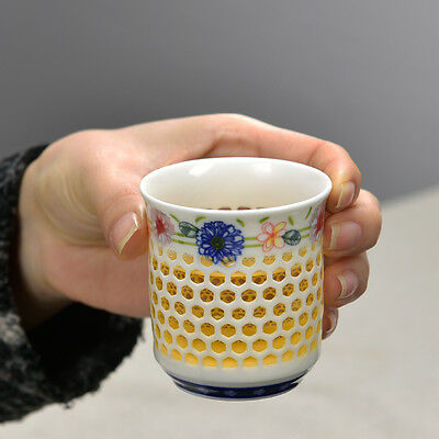 TEA CUP 120ml porcelain cup cellular style ceramic kungfu teacup of tea on sales