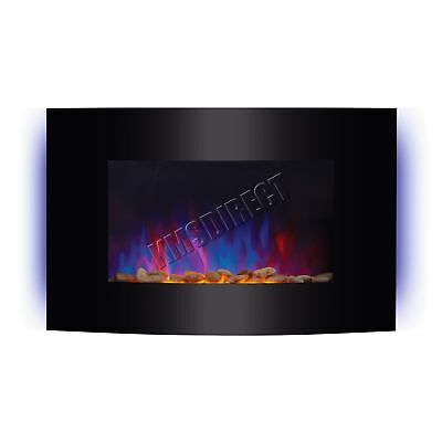 Wall Mounted Electric Fireplace Glass Heater Fire Remote Control LED Backlit 2KW