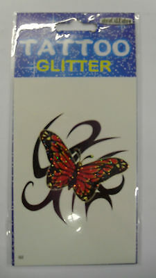 Temporary Tattoos Glitter Novelty Fake Fancy Dress - Red Butterfly On Back G2