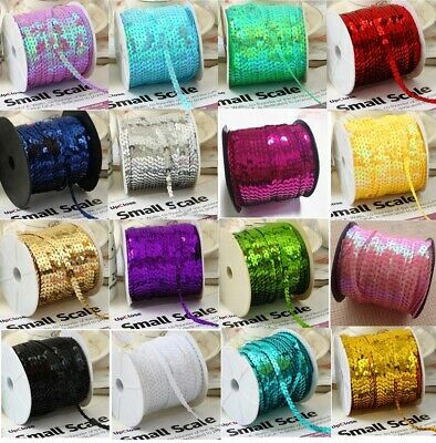 45 COLOUR 6mm 2M 5M 10M String Round Flat Sequins Sewing Trim Art Craft Costume