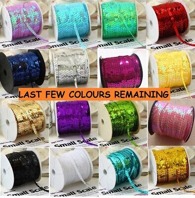 57 COLOURS 6mm Sequin Trim 1M 2M 5M 10M String Round Sequins Sewing Craft Dance