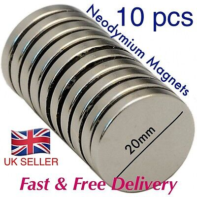 10 pcs - Strong Neo Magnets (20mm  x 3mm) * Pull force 3.9kg * POWERFORCE EXCEL*