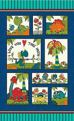 Dinosaur Friends Quilt Panel * New * In Stock * Free Post *