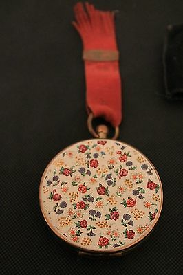 Beautiful Vintage 1950's Ladies Compact With Floral Design To Lid, Leather Strap