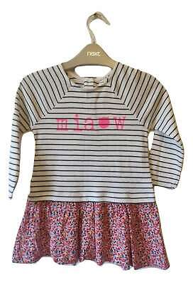 Next Tunic Dress Girls 1.5-2 years Stripe Ditsy Floral Top Cat BNWT