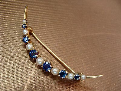 Antique 14K Gold Crescent Moon Pearls Sapphires