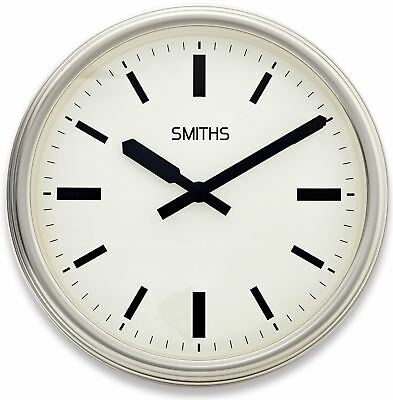 """45cm White and Silver """"Smiths London"""" Contemporary Modern Style Wall Clock"""