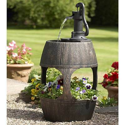 Decorative Barrel Water Feature Fountain and Planter for Flowers Ideal Gift