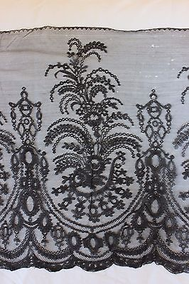 "Antique Handmade 19thC Chantilly Lace Head Scarf c1870~1yd 4""L  X 18""W"