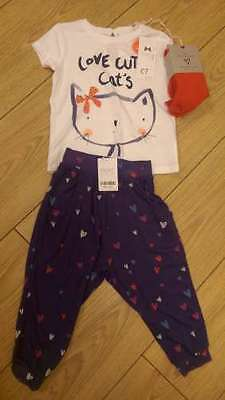 Next Outfit Set Joggers T-shirt & Tights Cat Hearts Design Girls 4-5 BNWT