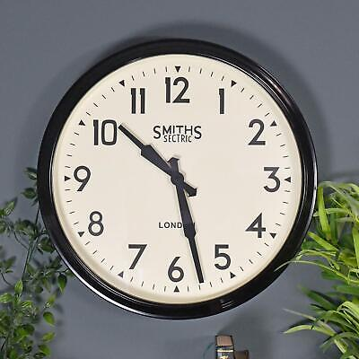"""38cm Black """"Smiths London"""" Square Contemporary Modern Style Wall Clock"""