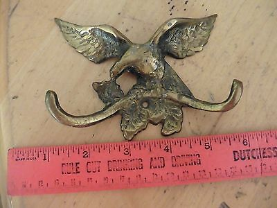 Solid Brass Vintage eagle hat coat hook towel jacket key double hooks wall mount