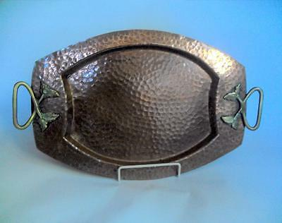 Vintage or antique metalware tray hammered copper and brass 11150