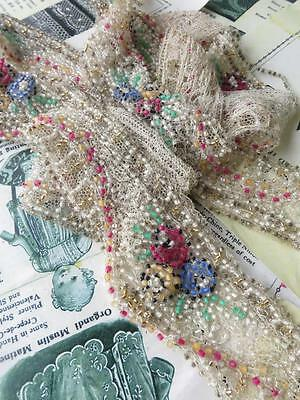Delightful Length Art Deco Beaded Tulle Scalloped Trim- Colourful Art Deco Roses