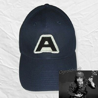 AC/DC Angus Young Replica Blue Embroidered Hat A Logo Malcom TNT Gabardine Cap