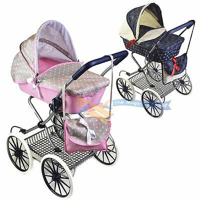 Cambridge Style Dolls Vintage Pram Stroller Storage Basket Carry Bag Girls Buggy