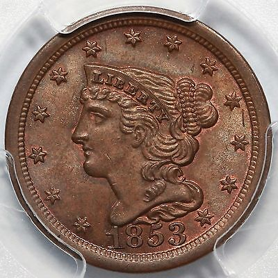 1853 PCGS MS 64 BN Braided Hair Half Cent Coin 1/2c