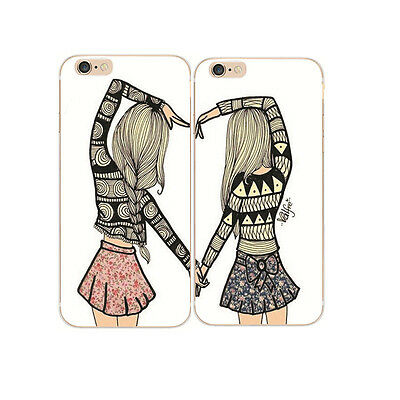 Best Friends Besties style Hard Case Cover for iPhone 4S 5 5S 5C 6 6S 7 7 Plus