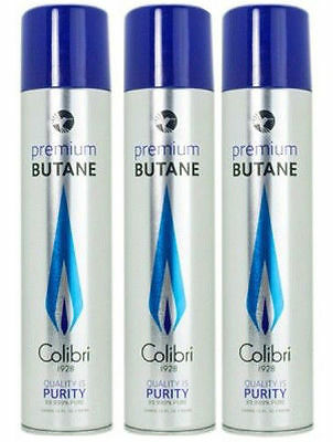 Colibri Premium Lighter Butane 3 Pack Refill Fuel 50g/3.04 oz Canister - #9103-3