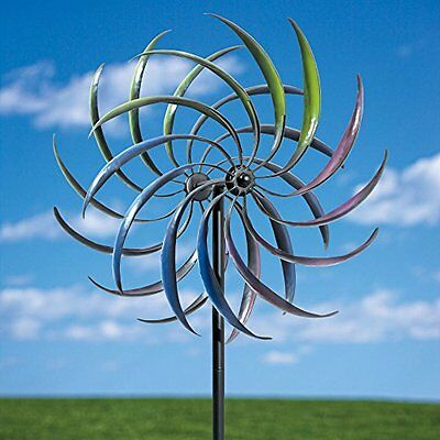 Rainbow Wind Spinner-Decorative Lawn Ornament Wind Mill - Tri-Colored Kinetic...