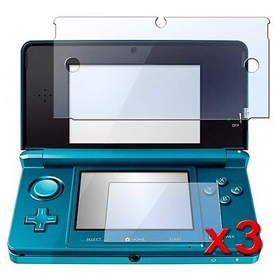 3 Pack Clear LCD Screen Protector Cover for Nintendo 3DS F6