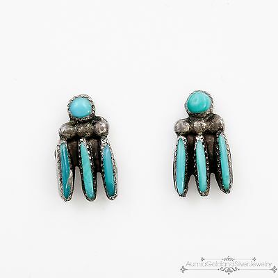 Antique Vintage Native Zuni Sterling Silver Turquoise Womens Bear Claw Earrings!