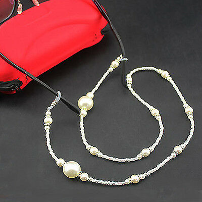 Gt White Pearl Beaded Eyeglass Spectacle Glasses Chain Neck Holder Cord Lanyard