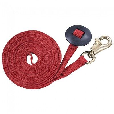 Tough-1 German 25ft Ribbed Cotton Lunge Line w/ Heavy Triggerbull Snap RED