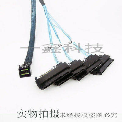 Mini SAS 12Gb SFF 8643 to 4 X SFF-8482 SAS SSD HDD Cable + Power connector 50cm