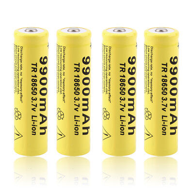 4x Power 3.7V 18650 9900mah Li-ion Rechargeable Battery For LED Flashlight Torch