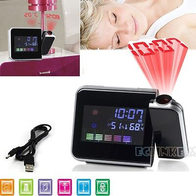Digital LCD Projector LED Snooze Alarm Clock Time Projecting Weather Station Tem