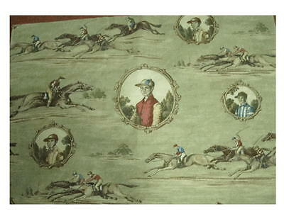 Mulberry FINAL FURLONG Horse Racing / Equestrian Theme Fabric