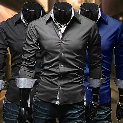 Men's Slim Fit Long Sleeve Dress Shirt Casual Tee Tops Business Shirts Deluxe