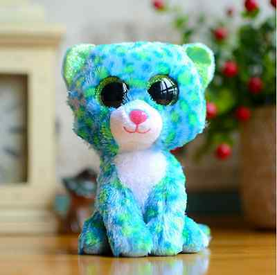 "6"" Ty Beanie Boos Big Eyes Plush Stuffed Animals Doll Leona Blue Leopard Gift"