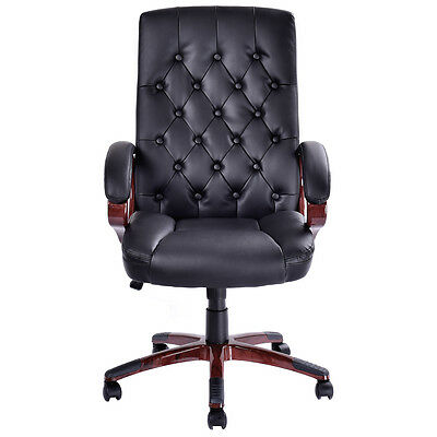 Black New High Back Ergonomic Tufted Office Chair PU Leather Computer Desk Task
