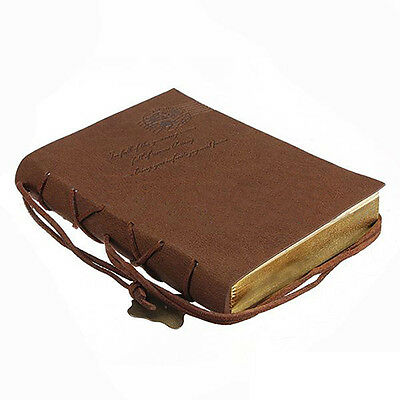 Classic Vintage Leather Bound Blank Pages Journal Diary Notebook F6