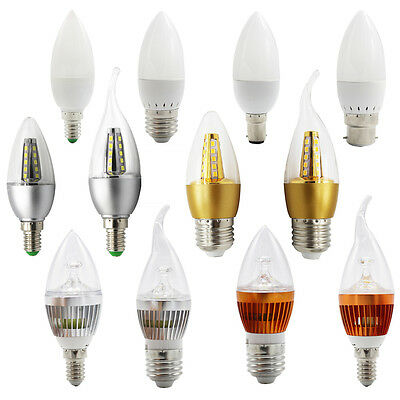 Dimmable 3W 5W 6W E14 E27 B22 LED Candle Light Bulbs Chandeliers Lamps White