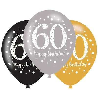 60th Birthday 6 Latex Balloons Gold Silver Black Party Decorations Helium Air