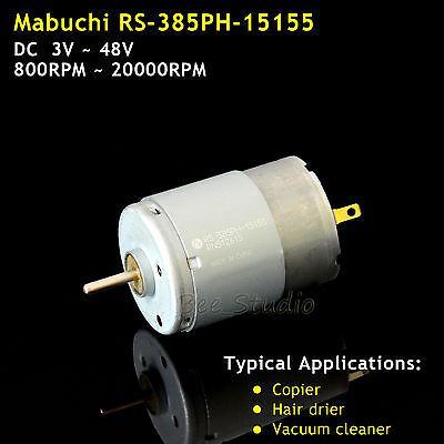 Mabuchi RS-385PH DC3~48V Carbon Brush Motor for Vacuum Cleaner Copier Hair Drier