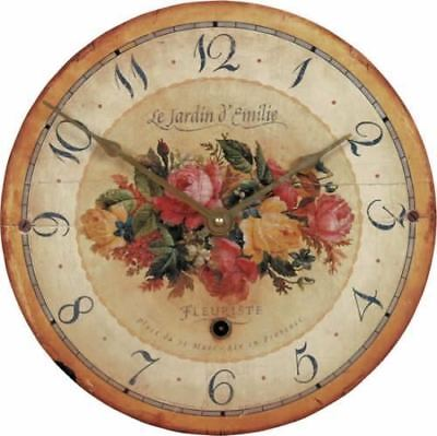 "36cm Vintage French Inspired ""Emilie Rose"" Rustic Kitchen Wall Clock"