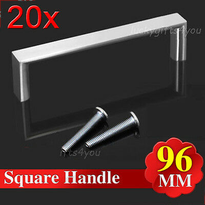 20PCS 96MM  Kitchen Cabinet Cupboard Bathroom Square Stainless Steel Door Handle