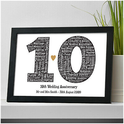 10th Wedding Anniversary Word Art Personalised Print Gift 10 Years Married Gift