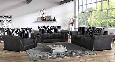 new leather and fabric farrow 3+2 seater sofa black/grey brown/beige