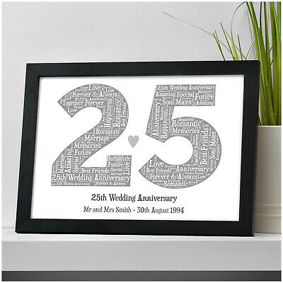 25th Silver Wedding Anniversary Gifts PERSONALISED Mr & Mrs 25 Years Print Gifts